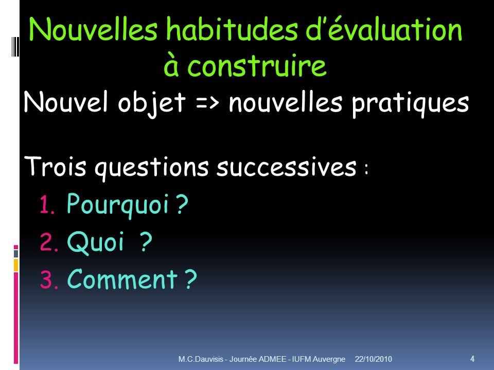 Nouvelles habitudes dévaluation à construire Nouvel objet => nouvelles pratiques Trois questions successives : 1. Pourquoi ? 2. Quoi ? 3. Comment ? 22