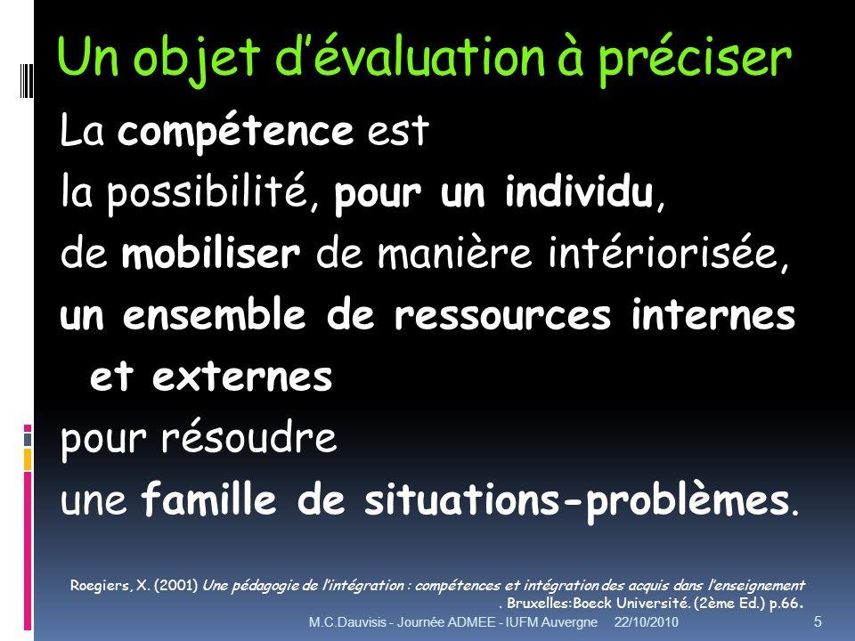 Un objet dévaluation à préciser La compétence est la possibilité, pour un individu, de mobiliser de manière intériorisée, un ensemble de ressources internes et externes pour résoudre une famille de situations-problèmes.