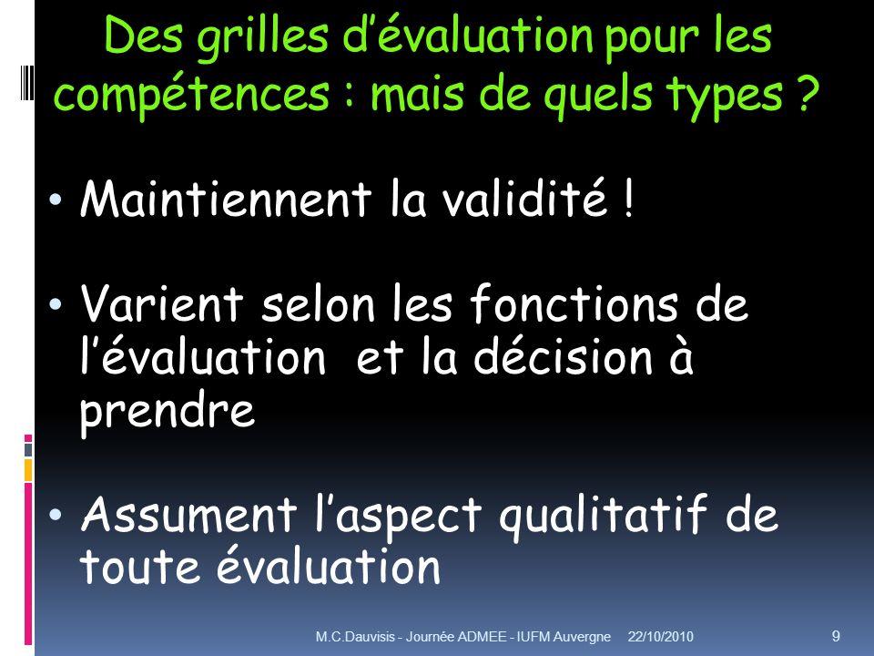 Des grilles dévaluation pour les compétences : mais de quels types ? Maintiennent la validité ! Varient selon les fonctions de lévaluation et la décis