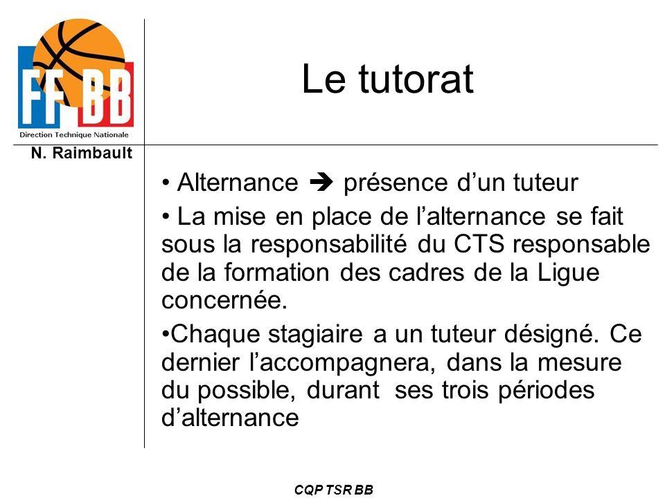 N. Raimbault CQP TSR BB Le tutorat Alternance présence dun tuteur La mise en place de lalternance se fait sous la responsabilité du CTS responsable de