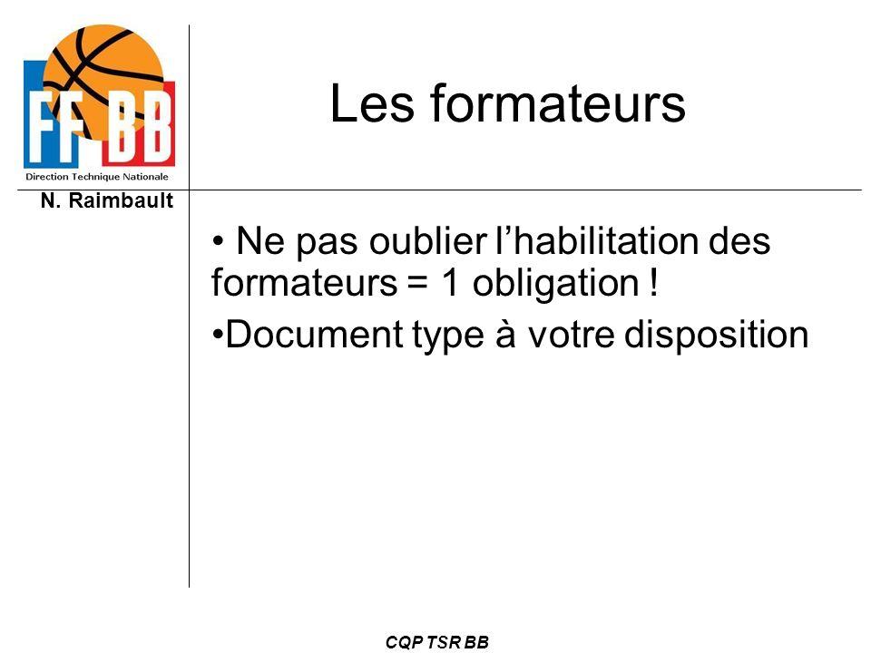 N. Raimbault CQP TSR BB Les formateurs Ne pas oublier lhabilitation des formateurs = 1 obligation ! Document type à votre disposition