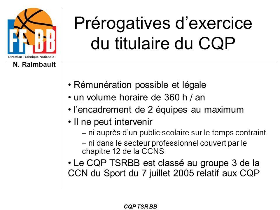 N. Raimbault CQP TSR BB Prérogatives dexercice du titulaire du CQP Rémunération possible et légale un volume horaire de 360 h / an lencadrement de 2 é