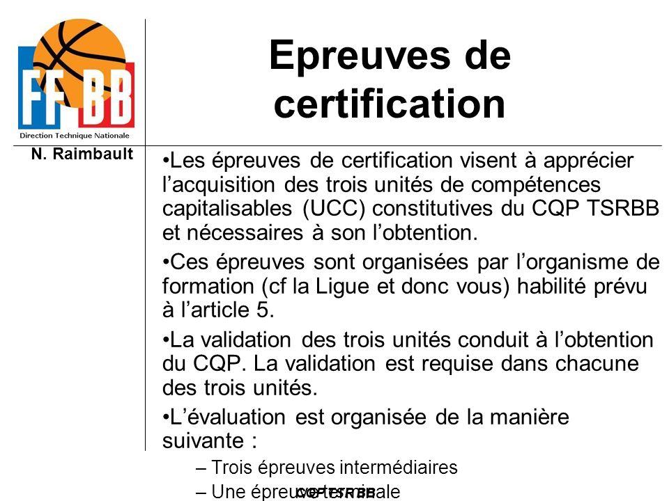 N. Raimbault CQP TSR BB Epreuves de certification Les épreuves de certification visent à apprécier lacquisition des trois unités de compétences capita