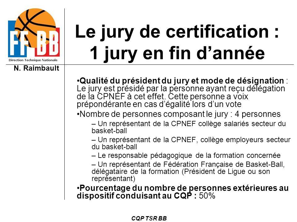 N. Raimbault CQP TSR BB Qualité du président du jury et mode de désignation : Le jury est présidé par la personne ayant reçu délégation de la CPNEF à