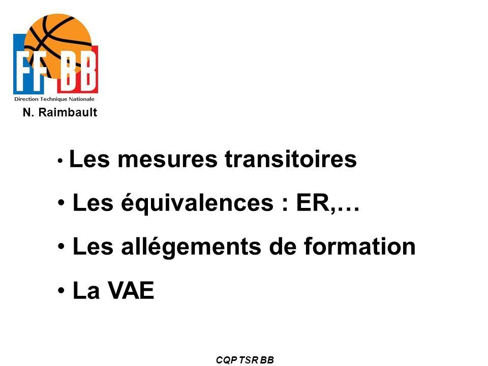 N. Raimbault CQP TSR BB Les mesures transitoires Les équivalences : ER,… Les allégements de formation La VAE