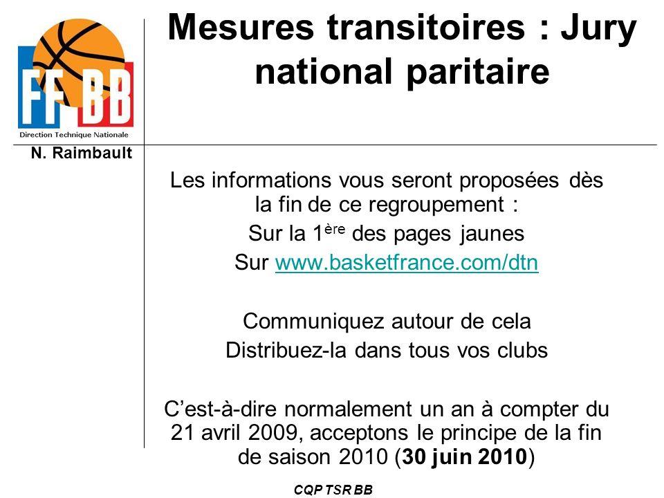 N. Raimbault CQP TSR BB Les informations vous seront proposées dès la fin de ce regroupement : Sur la 1 ère des pages jaunes Sur www.basketfrance.com/