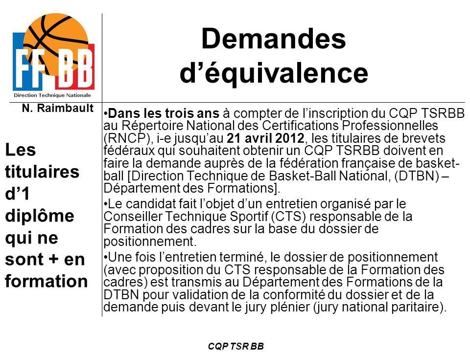 N. Raimbault CQP TSR BB Demandes déquivalence Dans les trois ans à compter de linscription du CQP TSRBB au Répertoire National des Certifications Prof