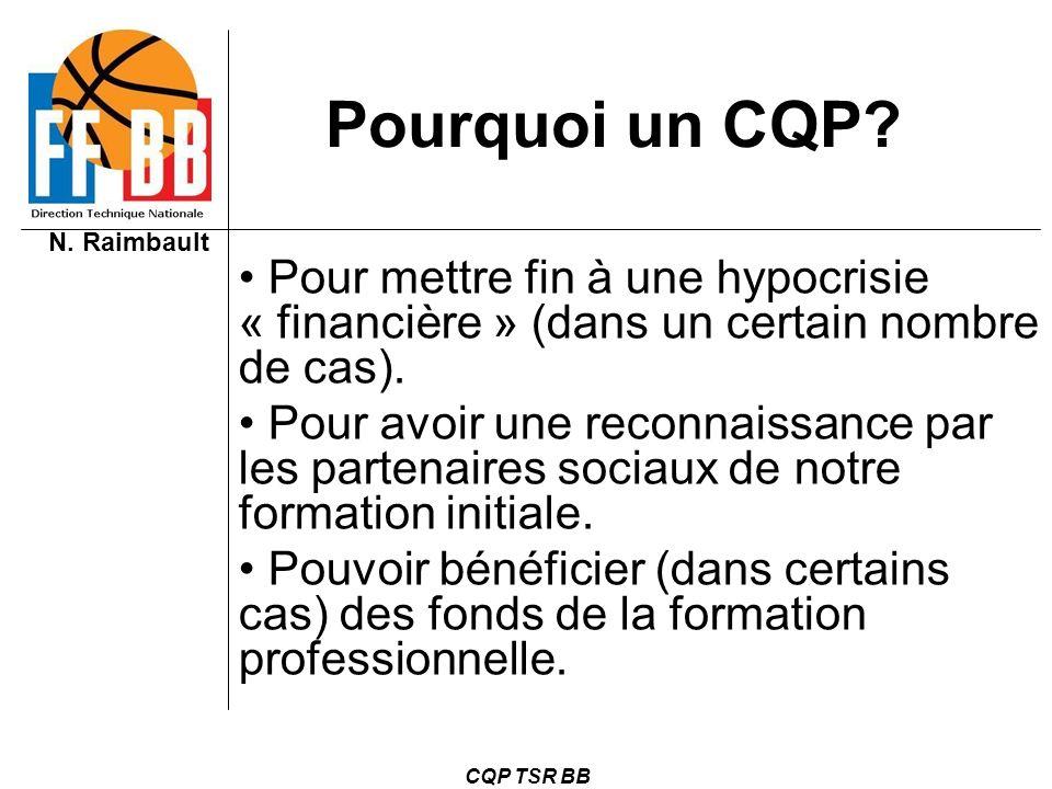 N. Raimbault CQP TSR BB Pourquoi un CQP? Pour mettre fin à une hypocrisie « financière » (dans un certain nombre de cas). Pour avoir une reconnaissanc