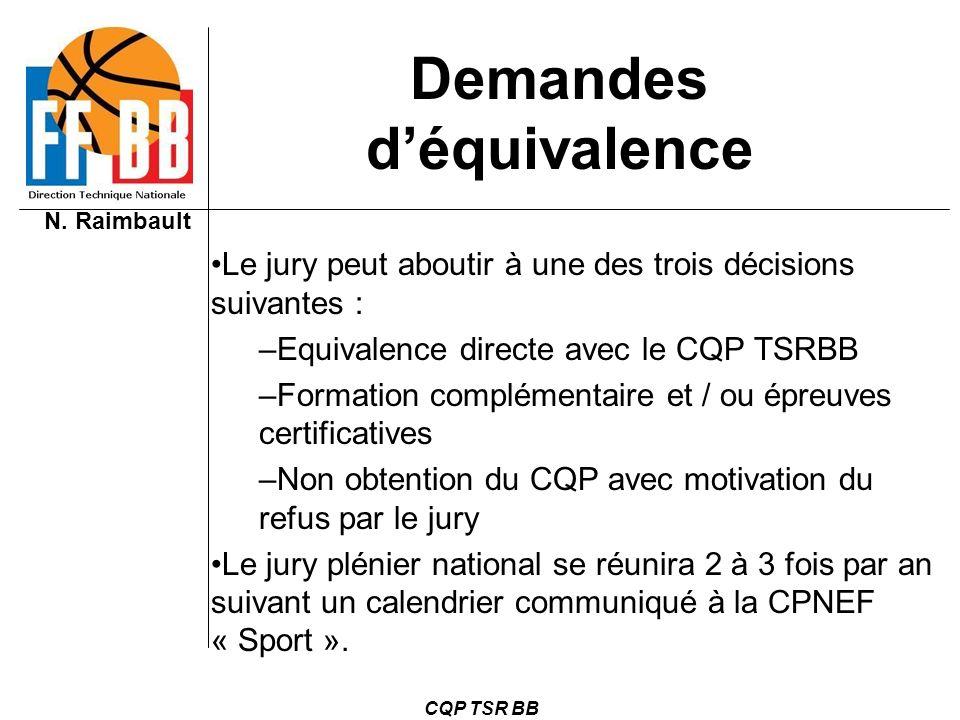 N. Raimbault CQP TSR BB Demandes déquivalence Le jury peut aboutir à une des trois décisions suivantes : –Equivalence directe avec le CQP TSRBB –Forma