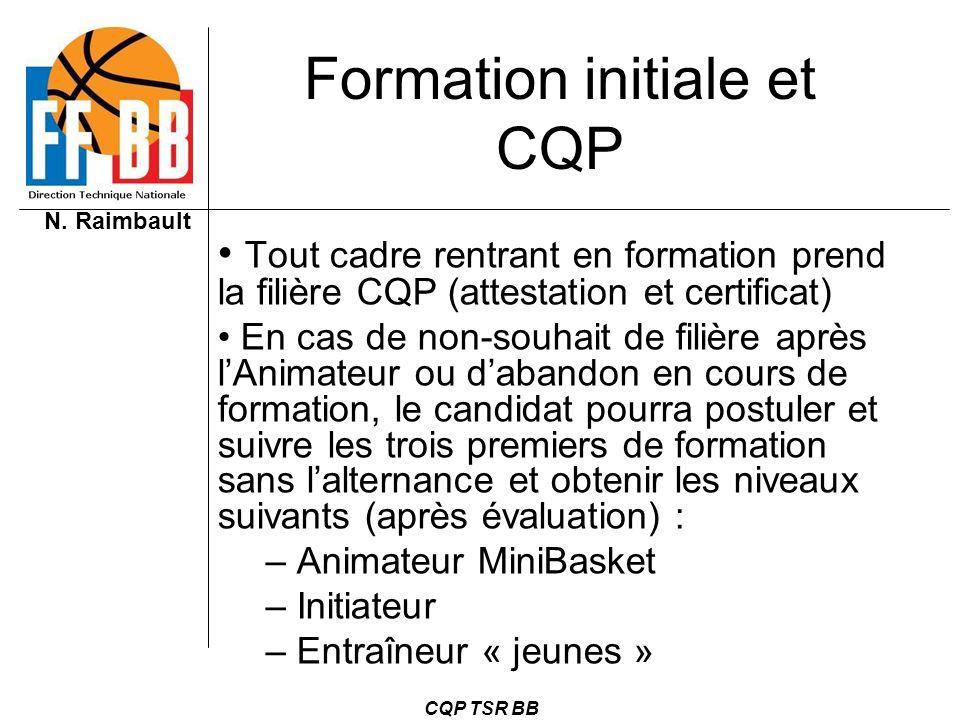 N. Raimbault CQP TSR BB Formation initiale et CQP Tout cadre rentrant en formation prend la filière CQP (attestation et certificat) En cas de non-souh