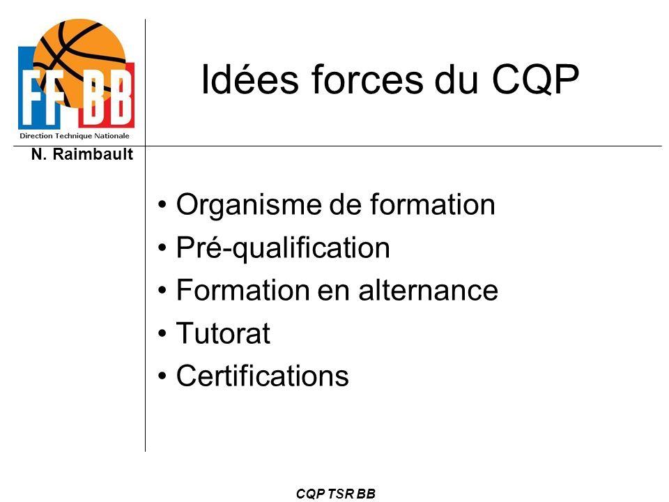 N. Raimbault CQP TSR BB Idées forces du CQP Organisme de formation Pré-qualification Formation en alternance Tutorat Certifications