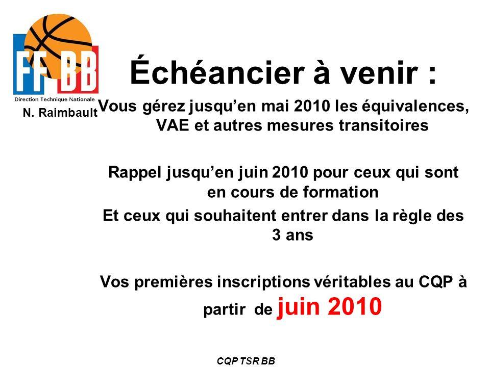 N. Raimbault CQP TSR BB Échéancier à venir : Vous gérez jusquen mai 2010 les équivalences, VAE et autres mesures transitoires Rappel jusquen juin 2010