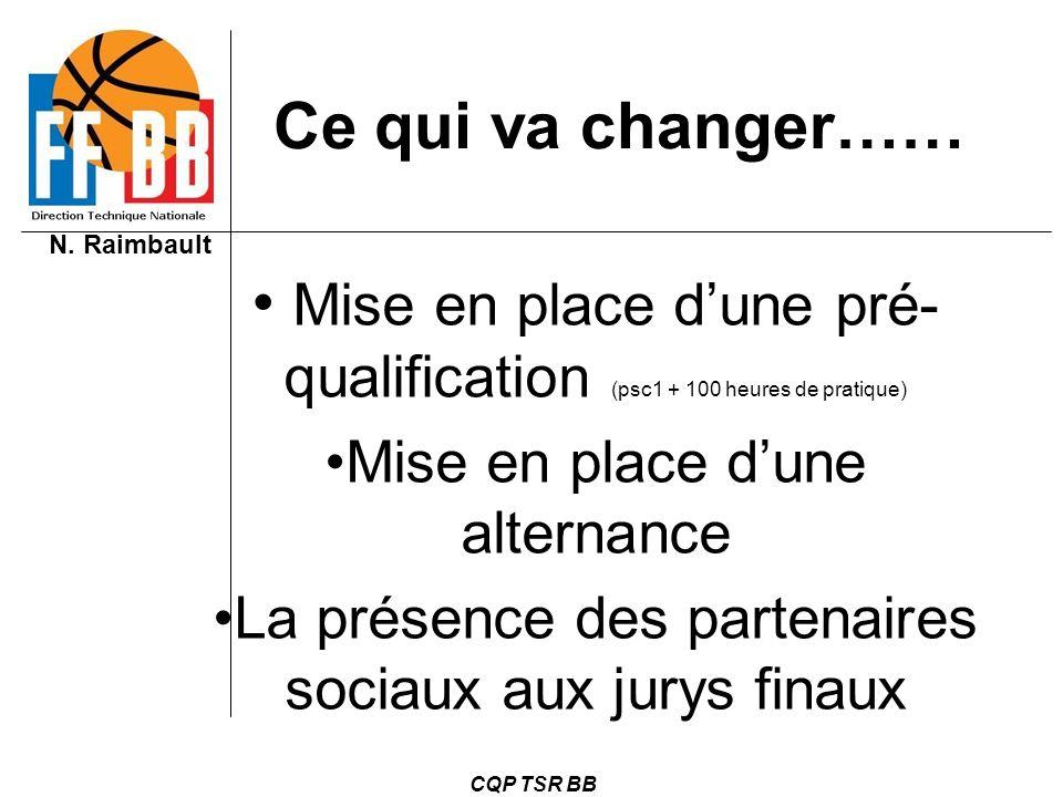 N. Raimbault CQP TSR BB Ce qui va changer…… Mise en place dune pré- qualification (psc1 + 100 heures de pratique) Mise en place dune alternance La pré