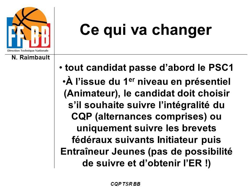N. Raimbault CQP TSR BB Ce qui va changer tout candidat passe dabord le PSC1 À lissue du 1 er niveau en présentiel (Animateur), le candidat doit chois