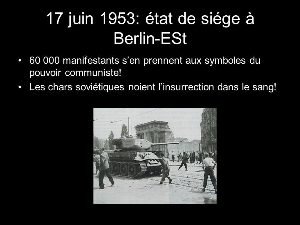 17 juin 1953: état de siége à Berlin-ESt 60 000 manifestants sen prennent aux symboles du pouvoir communiste! Les chars soviétiques noient linsurrecti