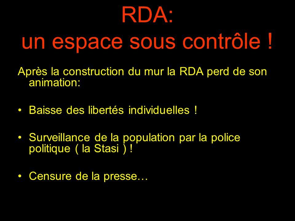 RDA: un espace sous contrôle ! Après la construction du mur la RDA perd de son animation: Baisse des libertés individuelles ! Surveillance de la popul