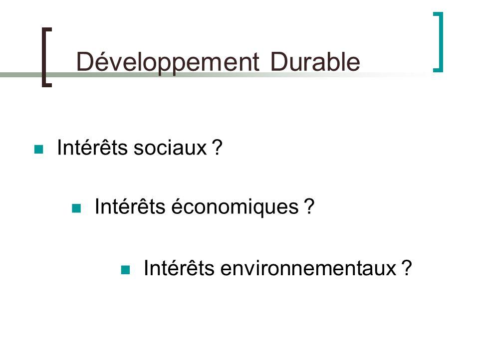 Développement Durable Intérêts économiques ? Intérêts sociaux ? Intérêts environnementaux ?