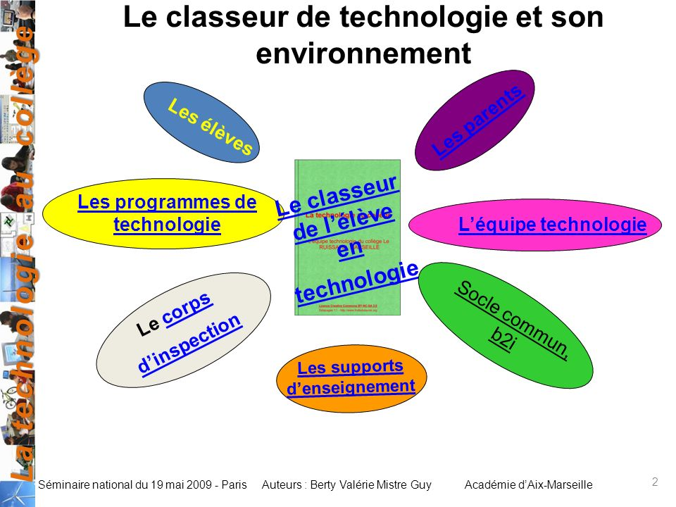 La technologie au collège Auteurs : Berty Valérie Mistre GuyAcadémie dAix-Marseille Séminaire national du 19 mai 2009 - Paris 2 Le classeur de technol