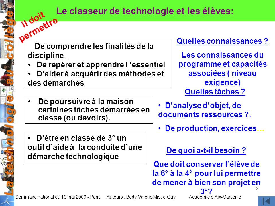 La technologie au collège Auteurs : Berty Valérie Mistre GuyAcadémie dAix-Marseille Séminaire national du 19 mai 2009 - Paris 3 Le classeur de technol