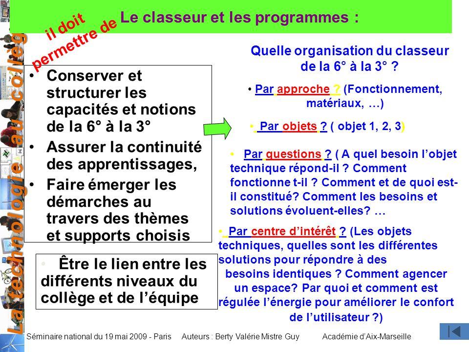 La technologie au collège Auteurs : Berty Valérie Mistre GuyAcadémie dAix-Marseille Séminaire national du 19 mai 2009 - Paris Le classeur et les progr