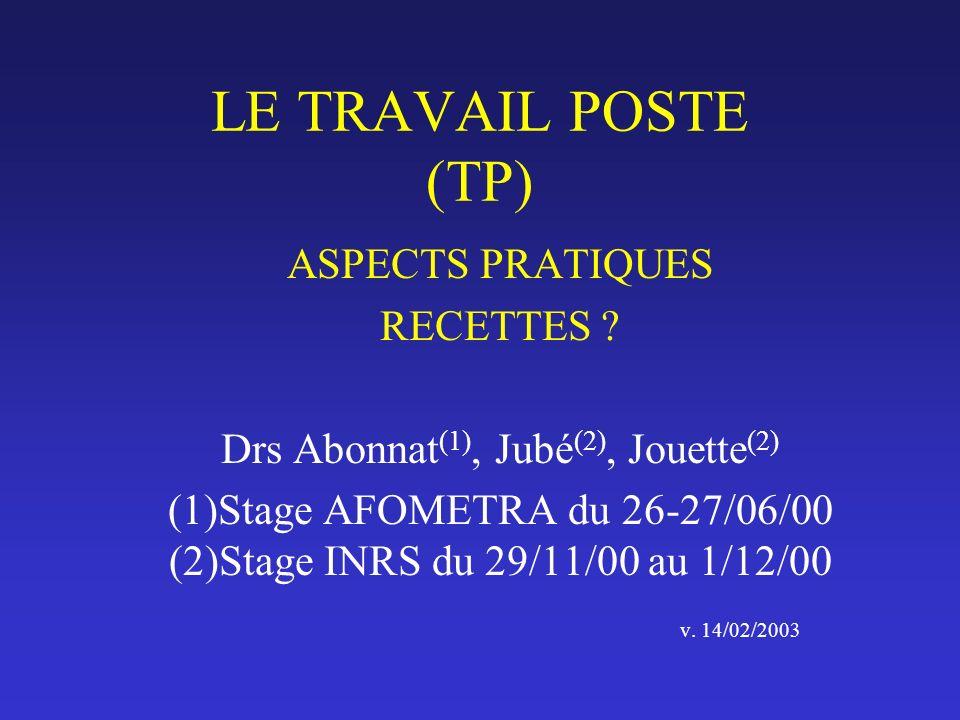 LE TRAVAIL POSTE (TP) ASPECTS PRATIQUES RECETTES ? Drs Abonnat (1), Jubé (2), Jouette (2) (1)Stage AFOMETRA du 26-27/06/00 (2)Stage INRS du 29/11/00 a