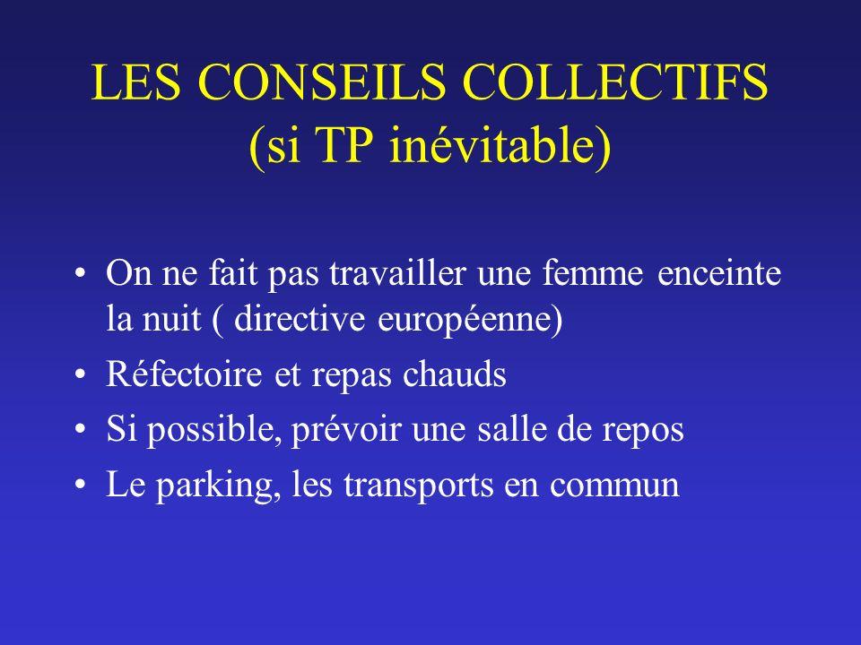 LES CONSEILS COLLECTIFS (si TP inévitable) On ne fait pas travailler une femme enceinte la nuit ( directive européenne) Réfectoire et repas chauds Si