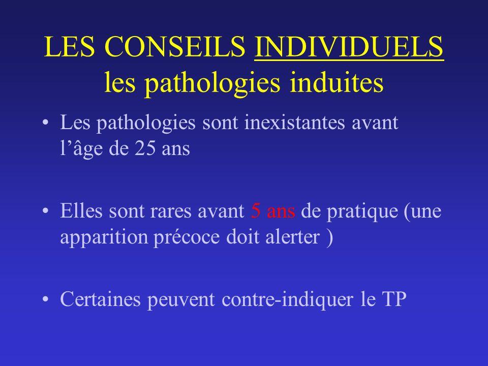 LES CONSEILS INDIVIDUELS les pathologies induites Les pathologies sont inexistantes avant lâge de 25 ans Elles sont rares avant 5 ans de pratique (une