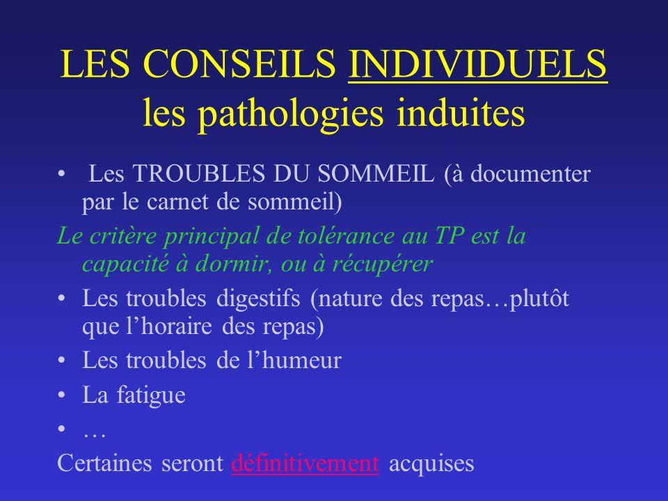 LES CONSEILS INDIVIDUELS les pathologies induites Les TROUBLES DU SOMMEIL (à documenter par le carnet de sommeil) Le critère principal de tolérance au