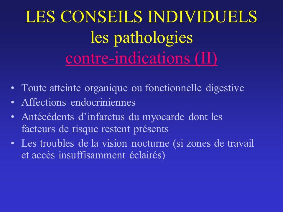 LES CONSEILS INDIVIDUELS les pathologies contre-indications (II) Toute atteinte organique ou fonctionnelle digestive Affections endocriniennes Antécéd