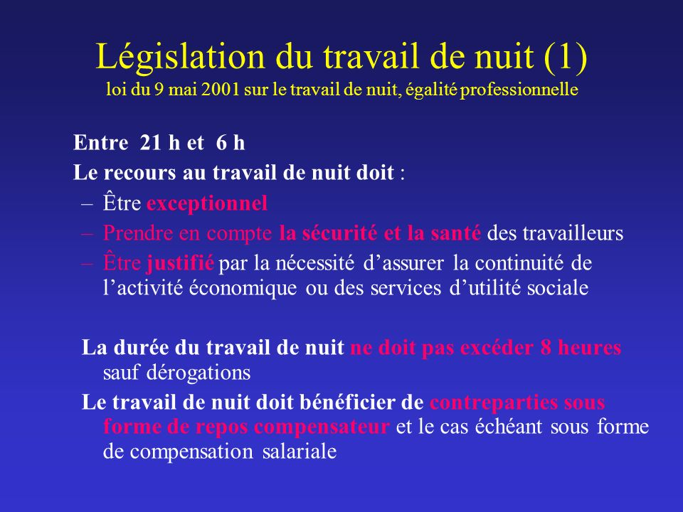 Législation du travail de nuit (1) loi du 9 mai 2001 sur le travail de nuit, égalité professionnelle Entre 21 h et 6 h Le recours au travail de nuit d
