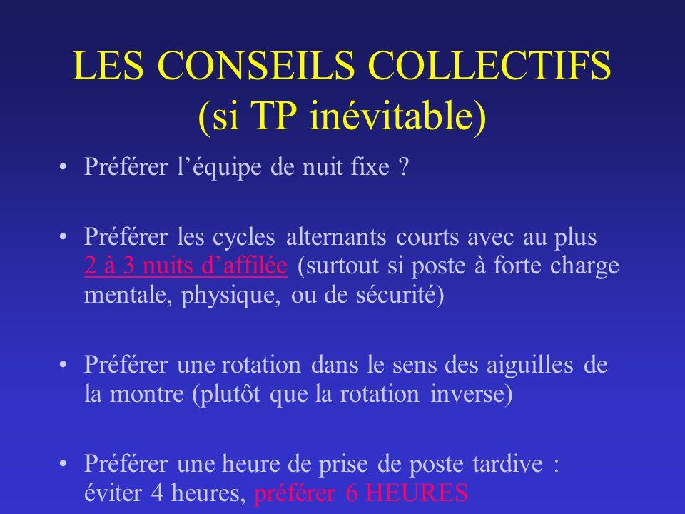 LES CONSEILS COLLECTIFS (si TP inévitable) Préférer léquipe de nuit fixe ? Préférer les cycles alternants courts avec au plus 2 à 3 nuits daffilée (su