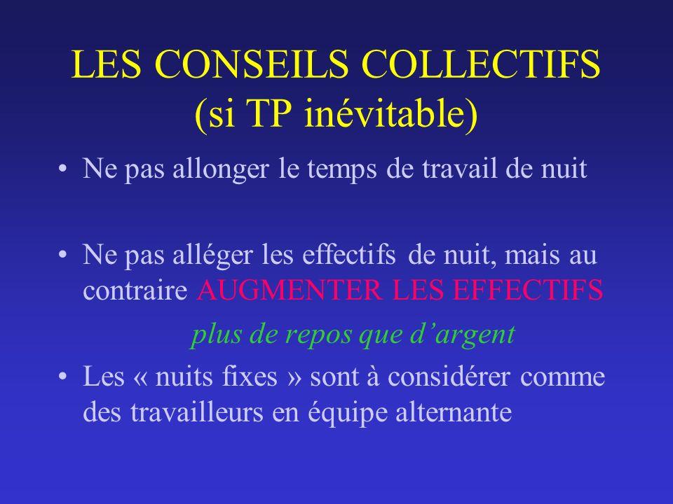 LES CONSEILS COLLECTIFS (si TP inévitable) Ne pas allonger le temps de travail de nuit Ne pas alléger les effectifs de nuit, mais au contraire AUGMENT