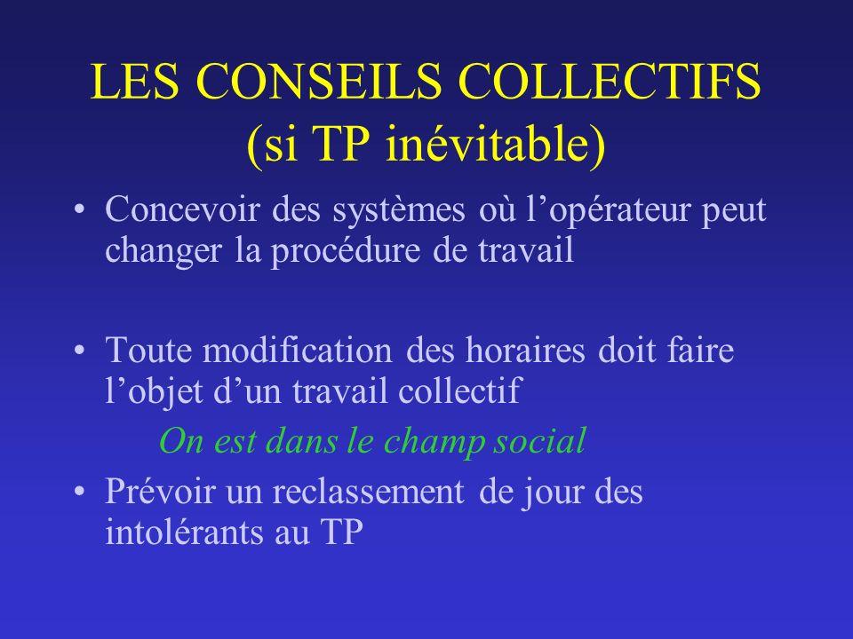 LES CONSEILS COLLECTIFS (si TP inévitable) Concevoir des systèmes où lopérateur peut changer la procédure de travail Toute modification des horaires d