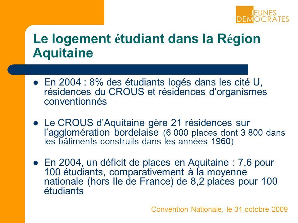 Convention Nationale, le 31 octobre 2009 Le logement é tudiant dans la R é gion Aquitaine En 2004 : 8% des étudiants logés dans les cité U, résidences du CROUS et résidences dorganismes conventionnés Le CROUS dAquitaine gère 21 résidences sur lagglomération bordelaise (6 000 places dont 3 800 dans les bâtiments construits dans les années 1960) En 2004, un déficit de places en Aquitaine : 7,6 pour 100 étudiants, comparativement à la moyenne nationale (hors Ile de France) de 8,2 places pour 100 étudiants