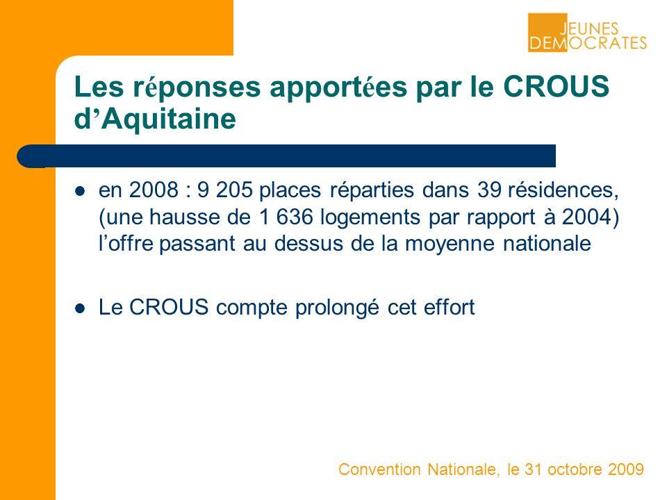 Convention Nationale, le 31 octobre 2009 Les r é ponses apport é es par le CROUS d Aquitaine en 2008 : 9 205 places réparties dans 39 résidences, (une hausse de 1 636 logements par rapport à 2004) loffre passant au dessus de la moyenne nationale Le CROUS compte prolongé cet effort