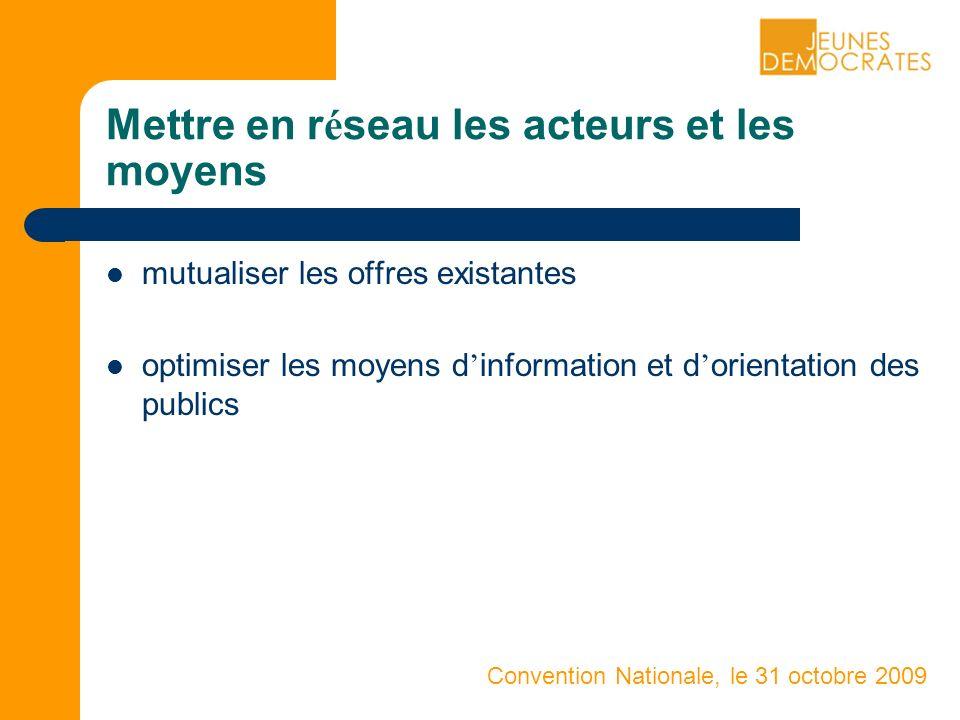 Convention Nationale, le 31 octobre 2009 mutualiser les offres existantes optimiser les moyens d information et d orientation des publics Mettre en r é seau les acteurs et les moyens