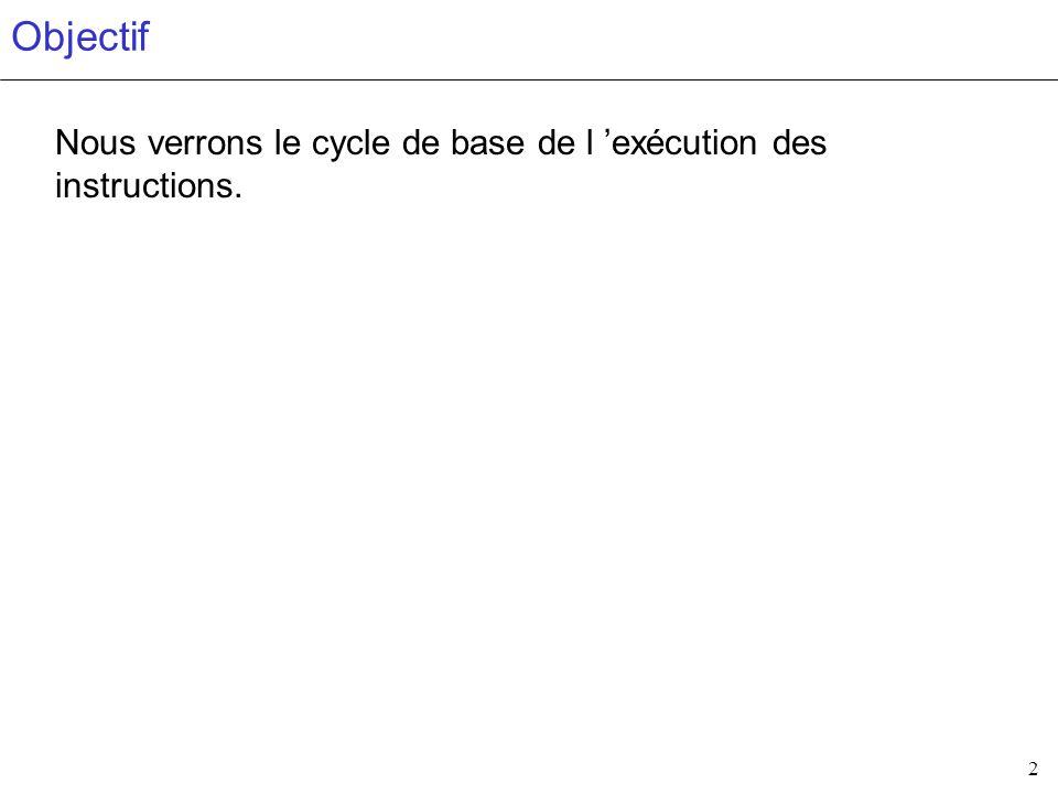 2 Objectif Nous verrons le cycle de base de l exécution des instructions.