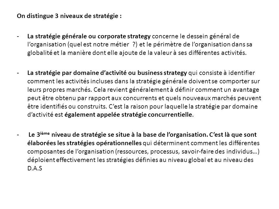 On distingue 3 niveaux de stratégie : -La stratégie générale ou corporate strategy concerne le dessein général de lorganisation (quel est notre métier