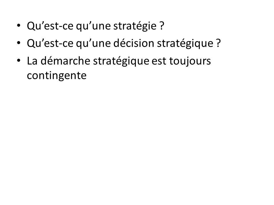 Quest-ce quune stratégie ? Quest-ce quune décision stratégique ? La démarche stratégique est toujours contingente