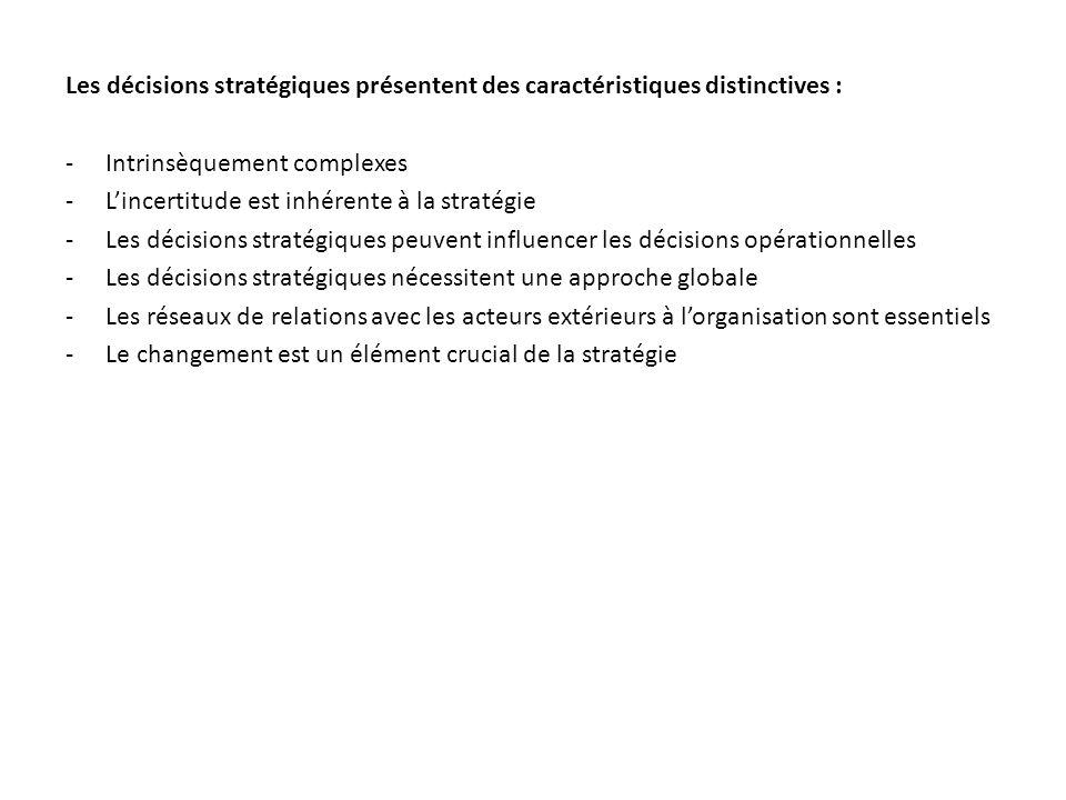 Les décisions stratégiques présentent des caractéristiques distinctives : -Intrinsèquement complexes -Lincertitude est inhérente à la stratégie -Les d