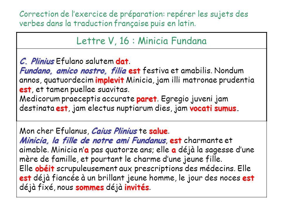 Lettre V, 16 : Minicia Fundana C. Pliniusdat C. Plinius Efulano salutem dat. est implevitest Fundano, amico nostro, filia est festiva et amabilis. Non