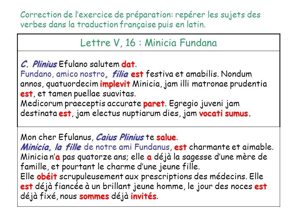 Lettre V, 16 : Minicia Fundana C. Pliniusdat C. Plinius Efulano salutem dat. Fundano, amico nostro, filiaest implevit est Fundano, amico nostro, filia