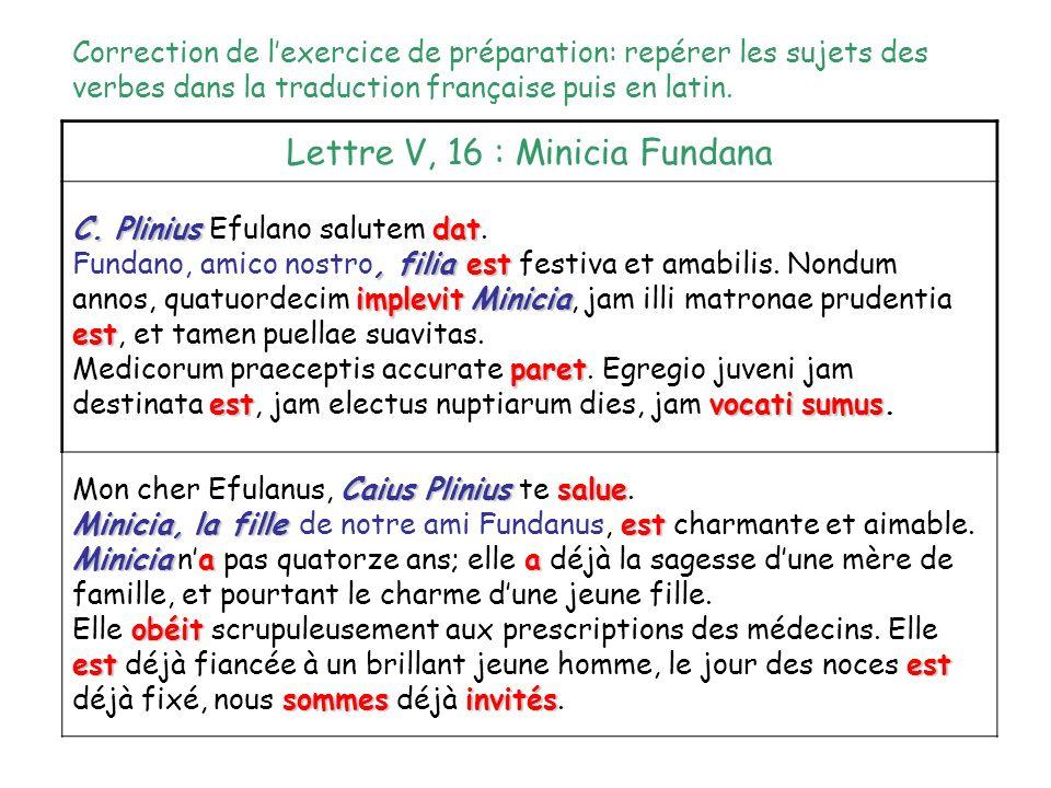 Lettre V, 16 : Minicia Fundana C. Pliniusdat C. Plinius Efulano salutem dat., filiaest implevit est Fundano, amico nostro, filia est festiva et amabil