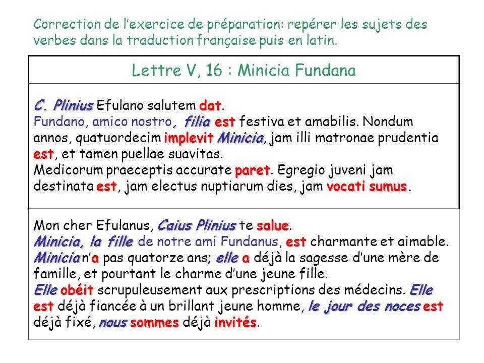 Lettre V, 16 : Minicia Fundana C. Pliniusdat C. Plinius Efulano salutem dat., filiaest implevitMinicia est Fundano, amico nostro, filia est festiva et