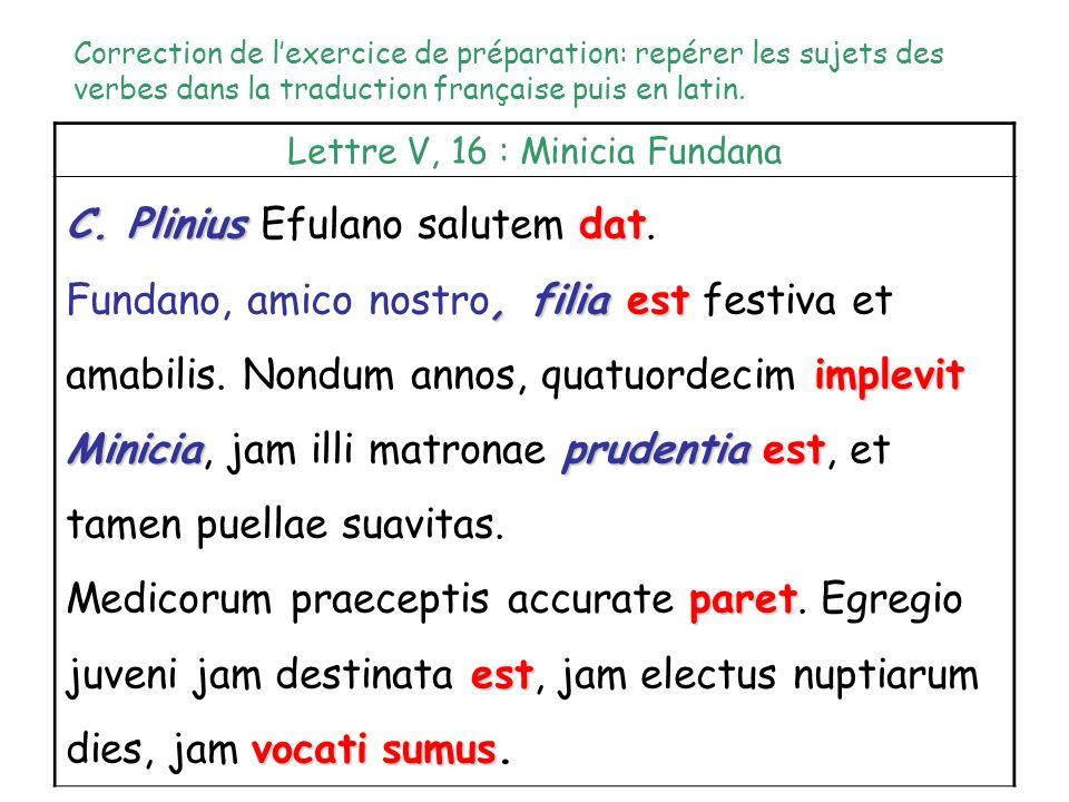 Discamus :Comment indique-t-on en latin la fonction sujet ? Rappel : en latin, le pronom personnel sujet nest pas exprimé ; la terminaison du verbe se