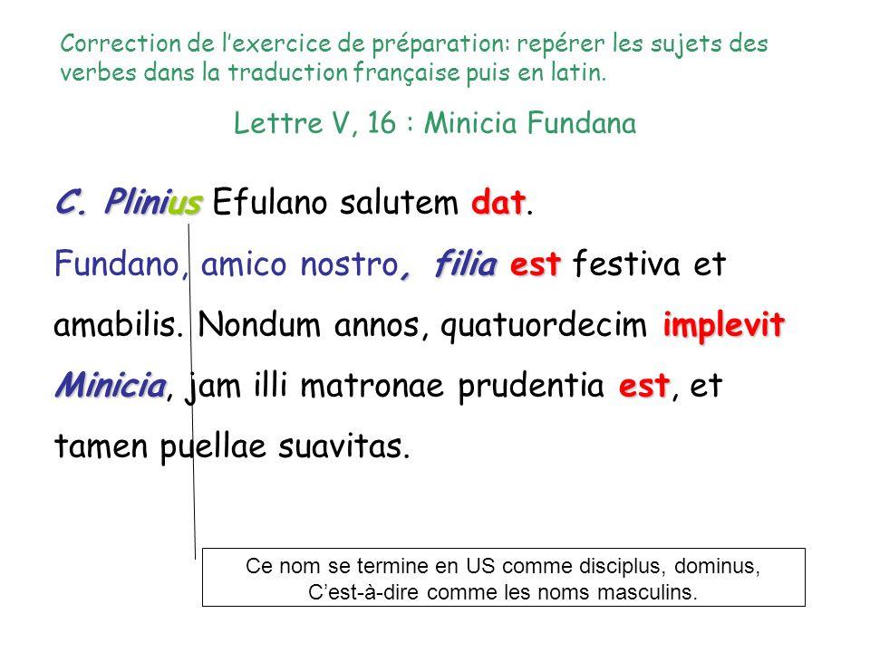 Lettre V, 16 : Minicia Fundana C. Pliniusdat C. Plinius Efulano salutem dat., filiaest implevit Miniciaprudentiaest Fundano, amico nostro, filia est f