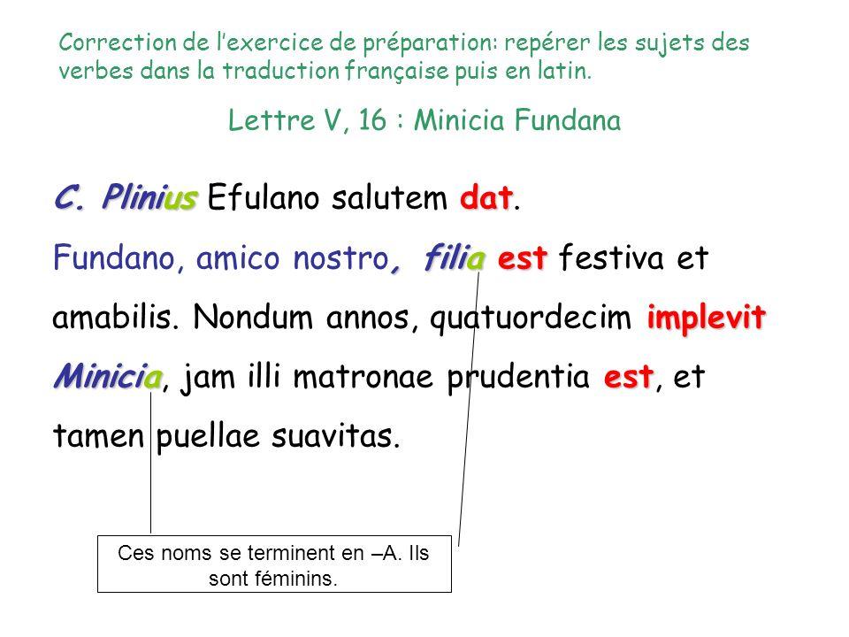 Lettre V, 16 : Minicia Fundana C. Pliniusdat C. Plinius Efulano salutem dat., filiaest implevit Miniciaest Fundano, amico nostro, filia est festiva et