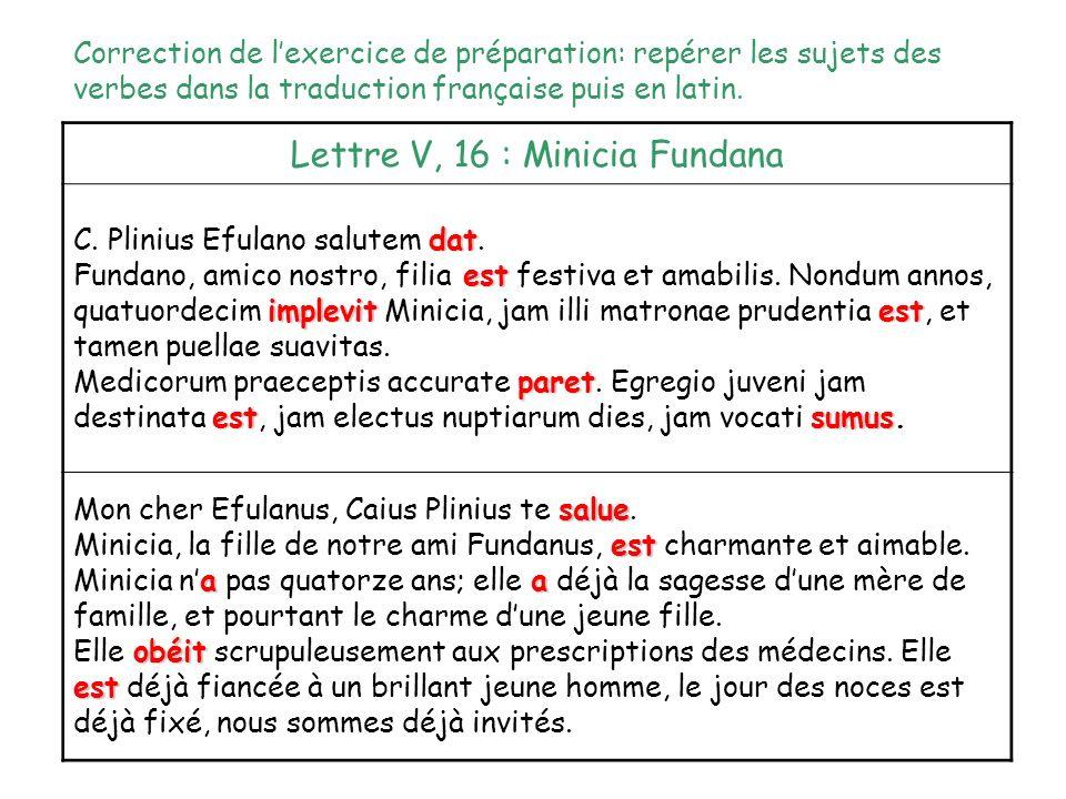 Lettre V, 16 : Minicia Fundana dat C. Plinius Efulano salutem dat. est implevitest Fundano, amico nostro, filia est festiva et amabilis. Nondum annos,