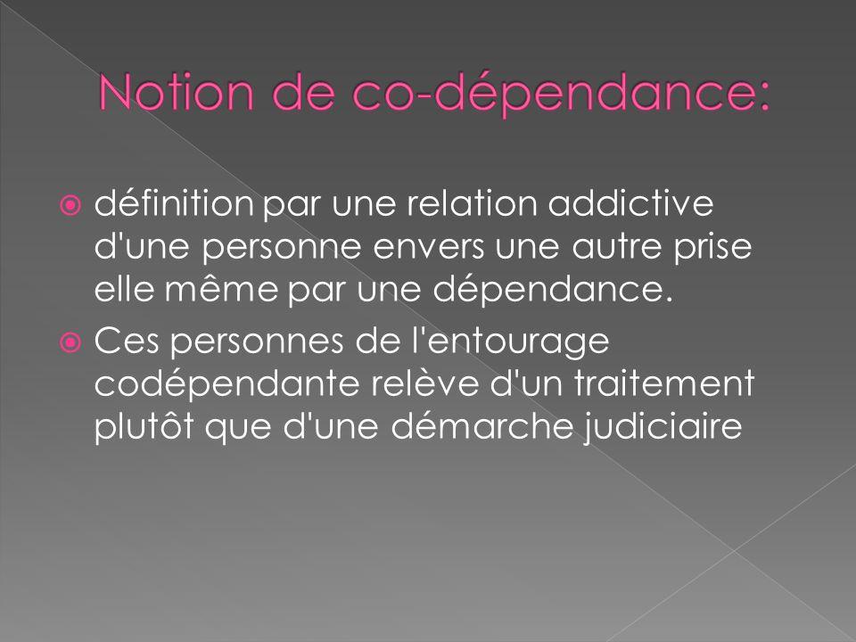 définition par une relation addictive d une personne envers une autre prise elle même par une dépendance.