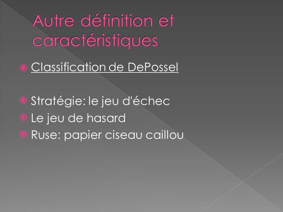 Classification de DePossel Stratégie: le jeu d échec Le jeu de hasard Ruse: papier ciseau caillou